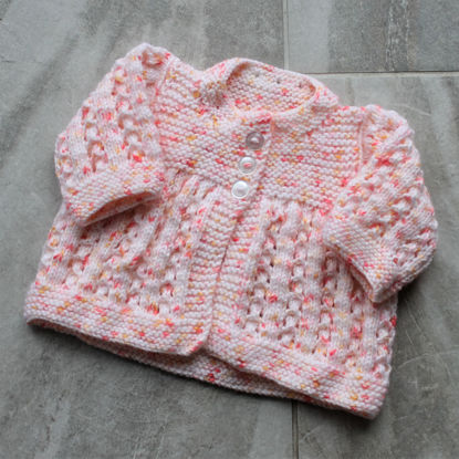 Picture of Newborn Hand Knitted Cardigan- Coral