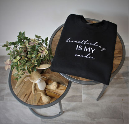 Picture of 'Breastfeeding Is My Cardio' Adult Breastfeeding Sweater