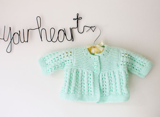 Picture of Newborn Hand Knitted Cardigan- Mint