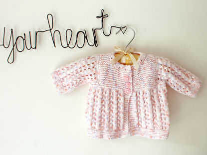 Picture of Newborn Hand Knitted Cardigan- Peach