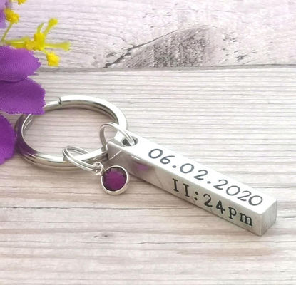 Picture of Baby Birth Details Keyring With Birthstone Crystal